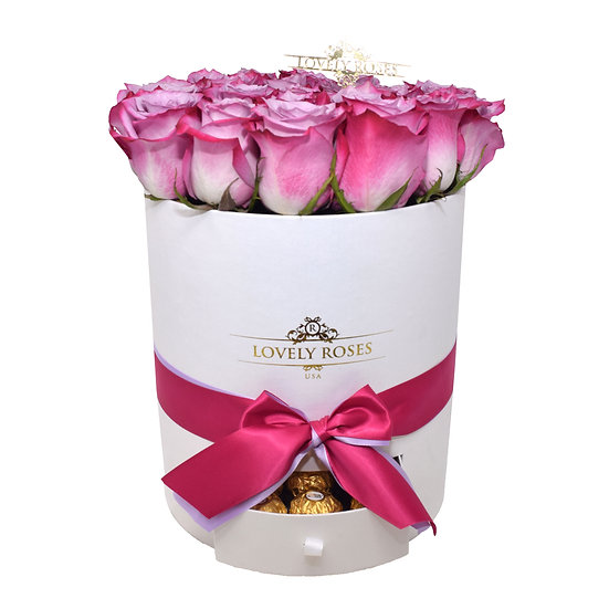 Valentine's Special Drawer Fuchsia Bi-Color Natural Roses/Only in Miami