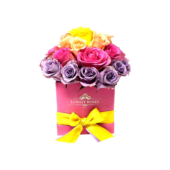 Medium Square Easter Color Natural Roses / ONLY IN MIAMI