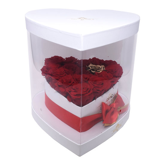 White Clear Heart Box - Red Preserved Roses