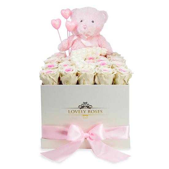Luna Teddy Bear Preserved Roses