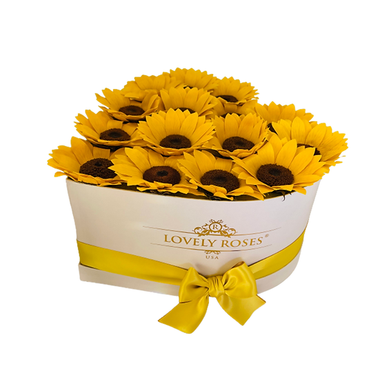 Heart of Preserved Sunflowers