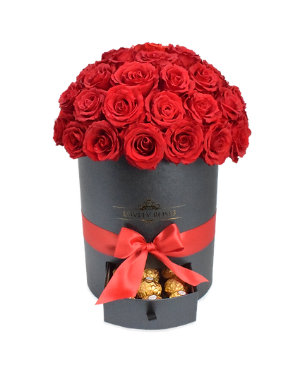 Super Deluxe Round Collection Red Preserved Roses