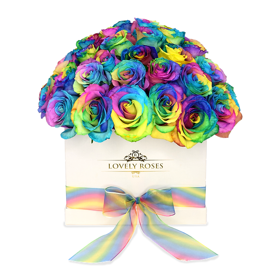Customized Super Deluxe Natural Rainbow Roses (Sample)/DELIVER IT ONLY IN MIAMI