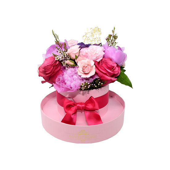 Mother's Day Special Round Box Pink Natural Roses/ONLY IN MIAMI