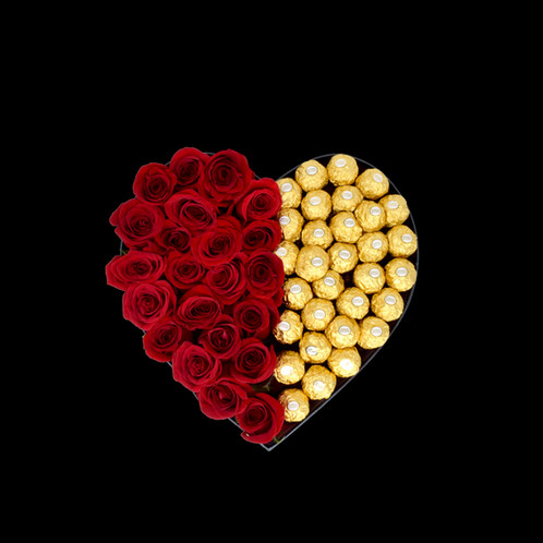 Large Heart Half Red Natural Roses Half Chocolatesonly In Miami