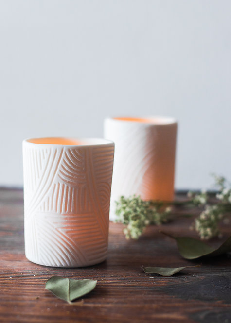 Carved Geometric Tea Light Holder