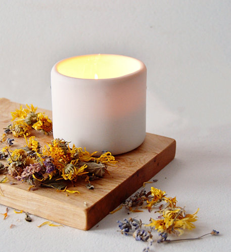 Herb Infused Beeswax Candle