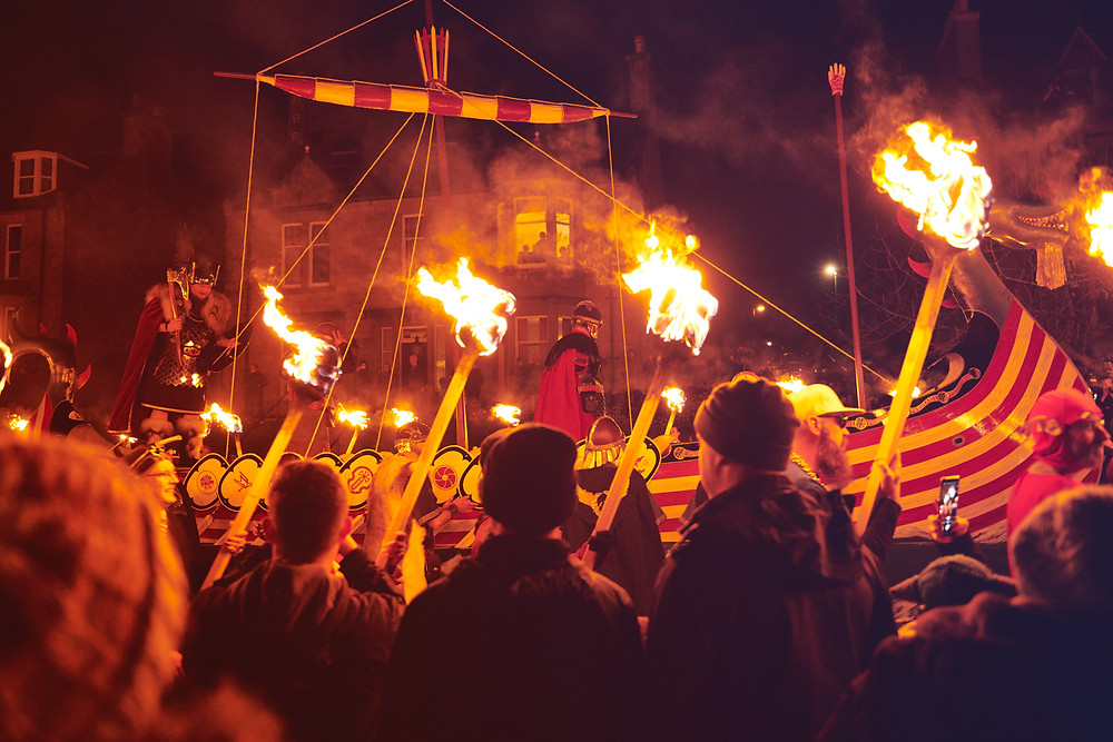 Viking Ship Burning at Up Helly Aa.  Picture use via permission of Visit Scotland and Zachary Burns.
