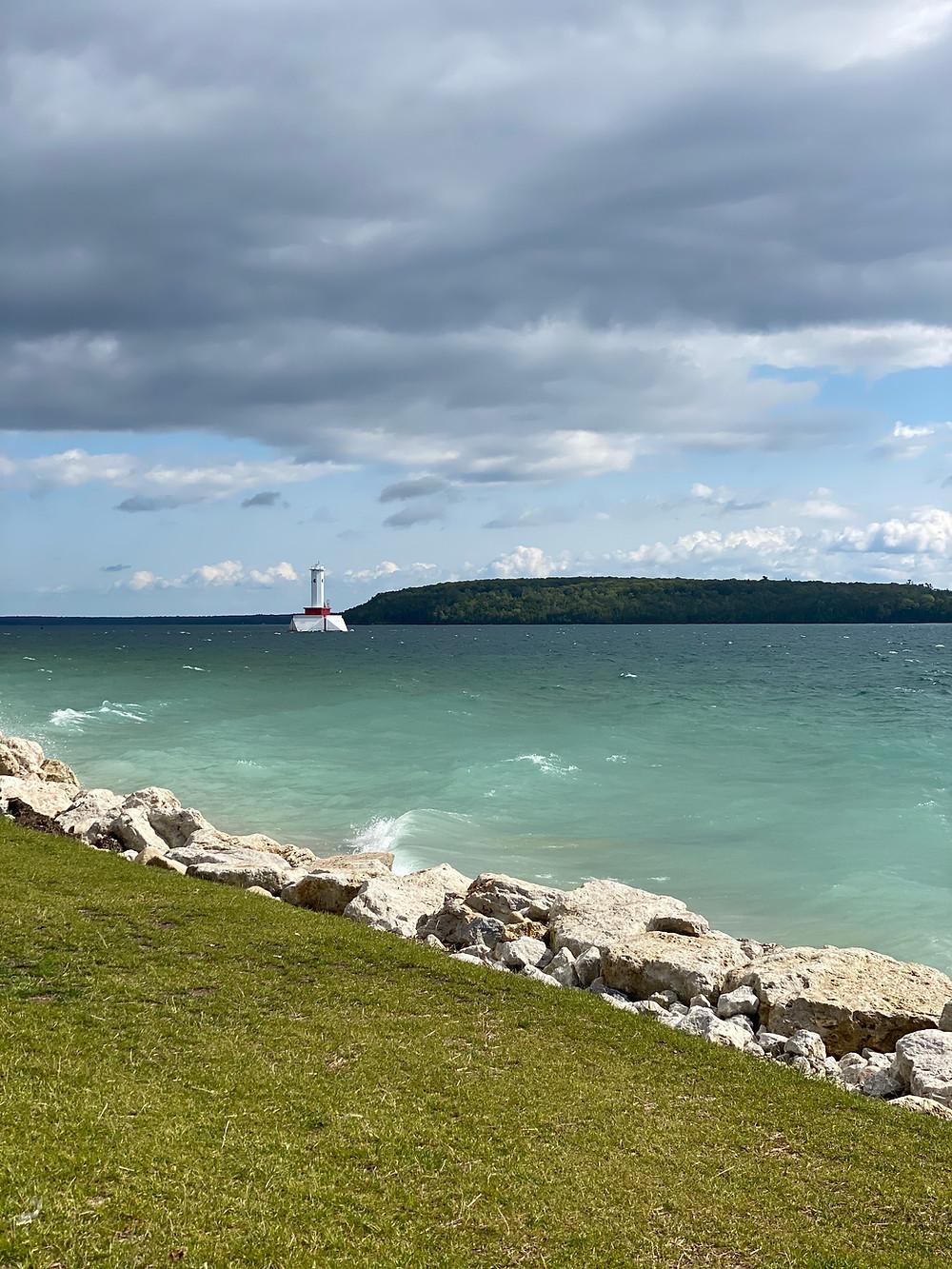 Teal water of Mackinac Island.