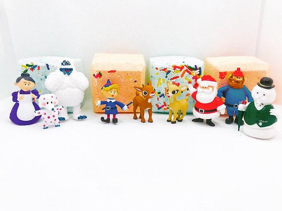 Rudolph surprise toy bath bombs