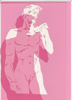 Scherenschnitt David  von Michelangelo