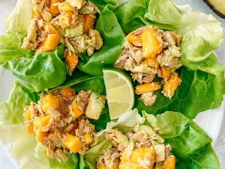 Tuna, Mango & Avocado Salad Lettuce Wraps