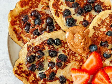 Banana Egg Blueberry Pancakes