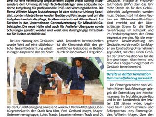 Bayerische Gemeindezeitung zum Spatenstich Neubau Wilhelm Mayer Nutzfahrzeuge, Oktober 2021