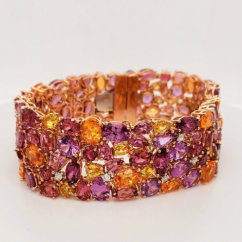 Multi-Color Gemstone Cobblestone Bracelet