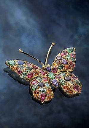 Multi-Color Gemstone Butterfly Brooch