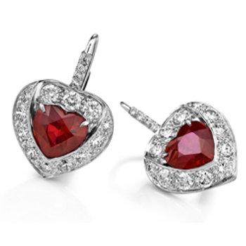 Burma Ruby Heart Shaped Earrings