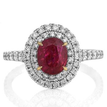 Ruby (Burma) Double Halo Ring