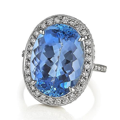 Aquamarine Platinum Ring