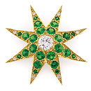 Tsavorite and Diamond 18KY gold Brooch. Gemstone Jewelry.