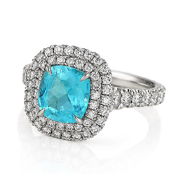 Paraiba (Brazil) Double Halo Ring