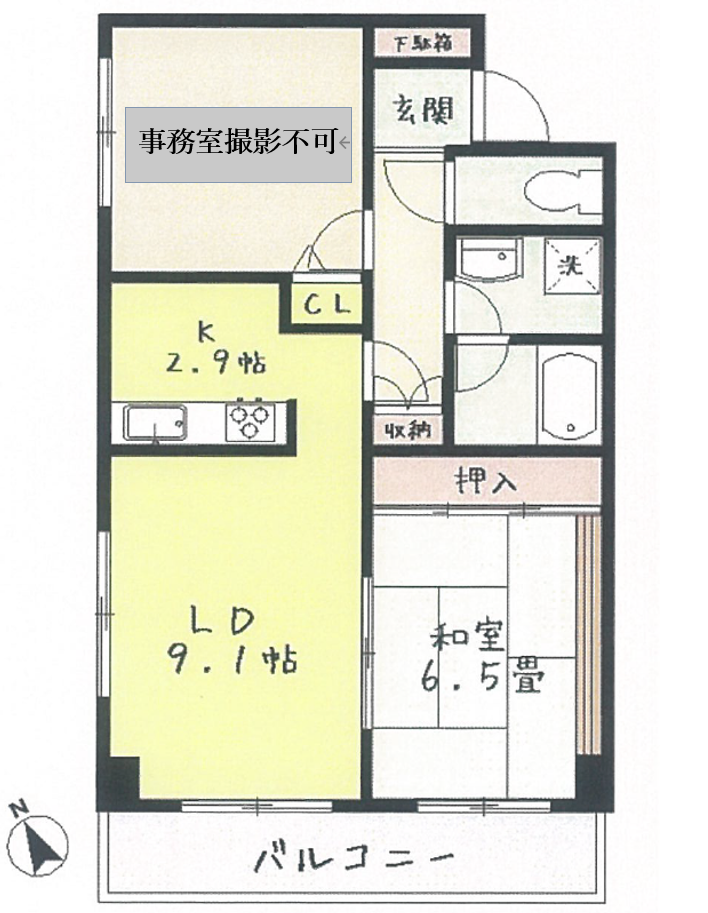 マンション305号室間取り図