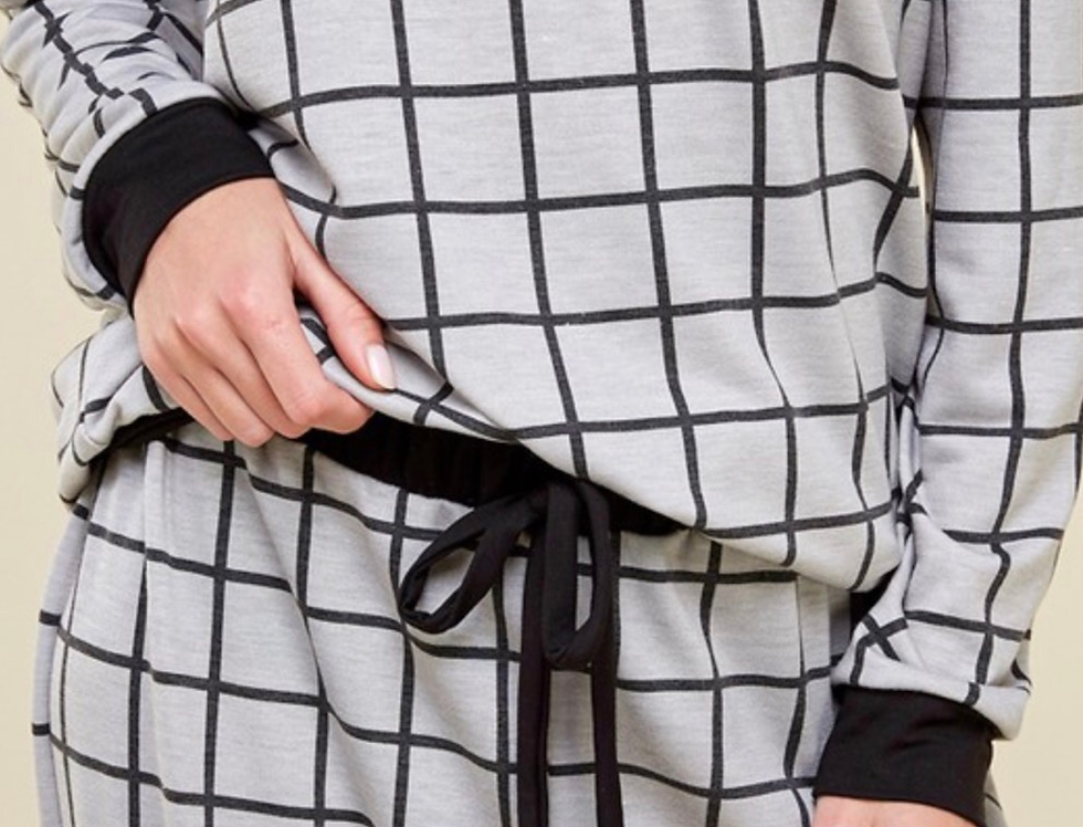 grid print loungewear TOP