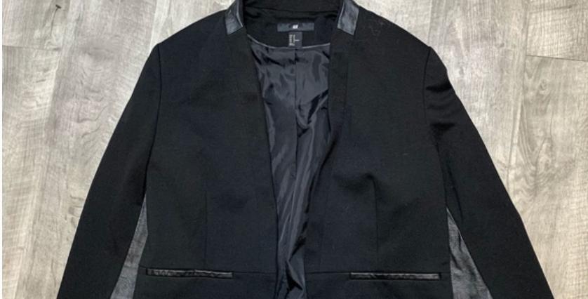 Black H&M Leather Trim Blazer