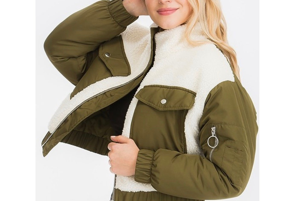 Sweet Olive Sherpa Jacket