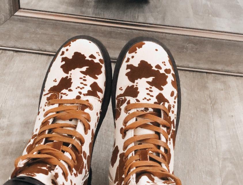 cow print combat boots