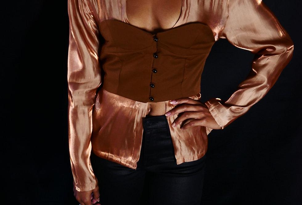 silky camel bustier blouse