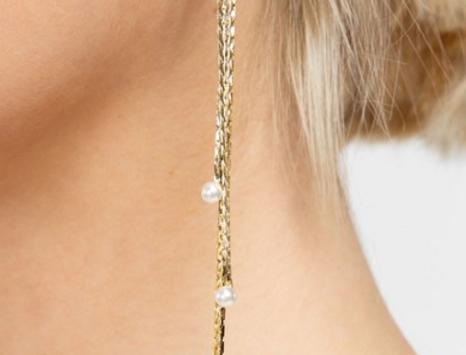 pearl chain drop dangle earrings