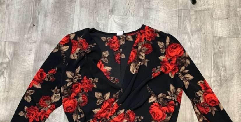 Black Rose Printed Top