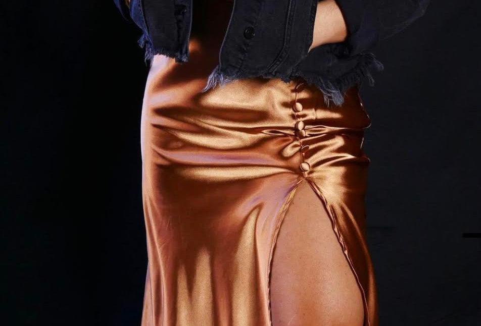 Satin Slit Skirt