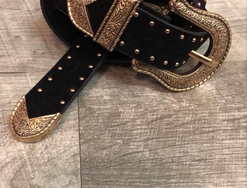 rose gold + black glam belt
