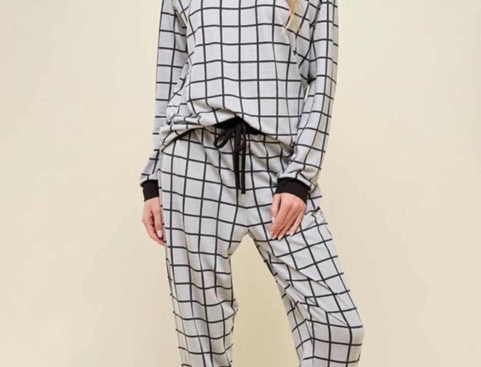 grid print loungewear BOTTOMS