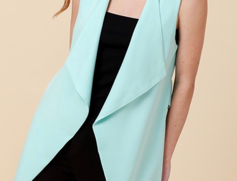 sweet mint sleeveless blazer