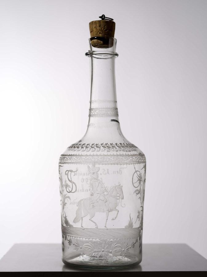 Glasflasche zur Gründung der Kavallerie 1790