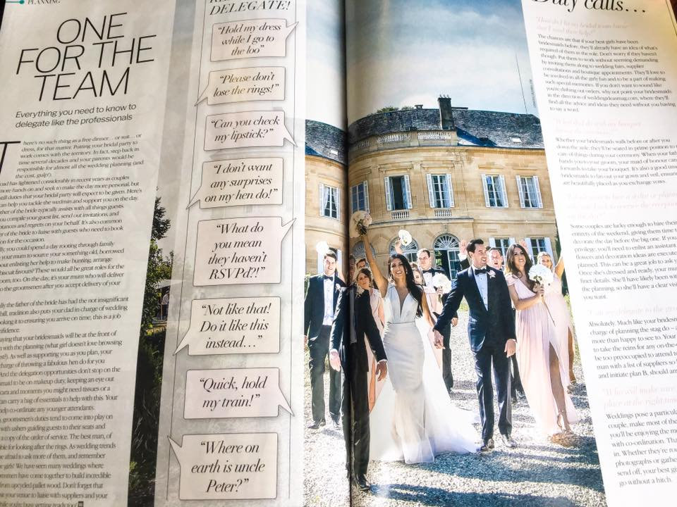 Bridal mag showing a wedding by Lydia taylorJones at Chateau Durantie