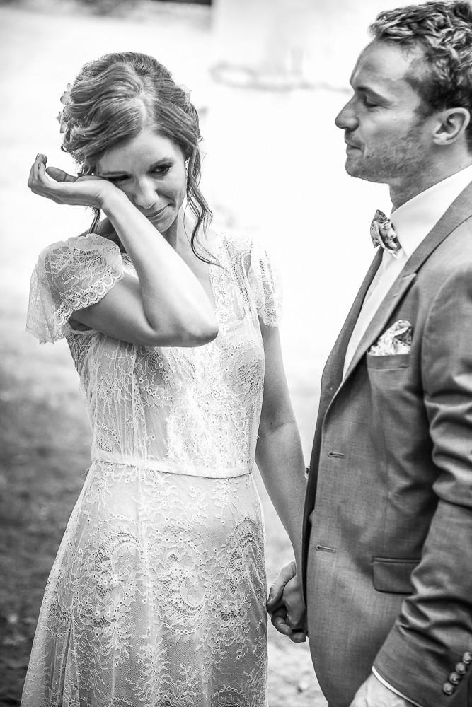 emotional bride on her wedding day