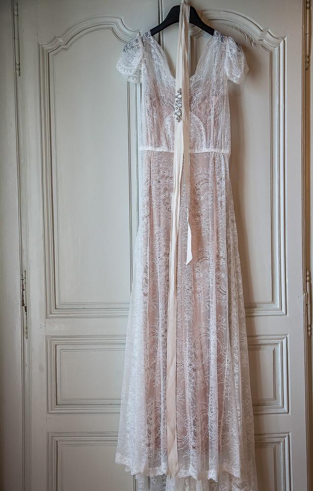 wedding dress photographed in dordogne France
