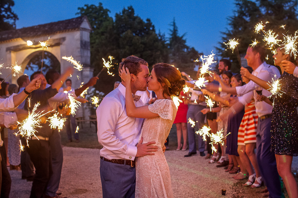 sparklers at a night time wedding