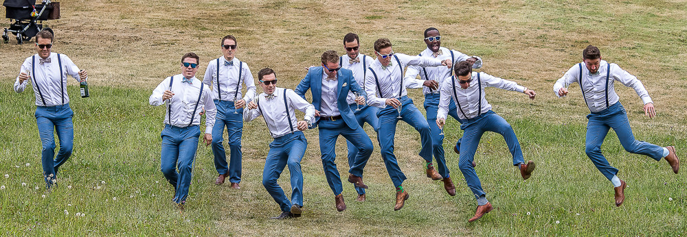 Groom jumping at a wedding in south west france