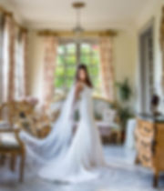 bride in her wedding dress at  mas de montet