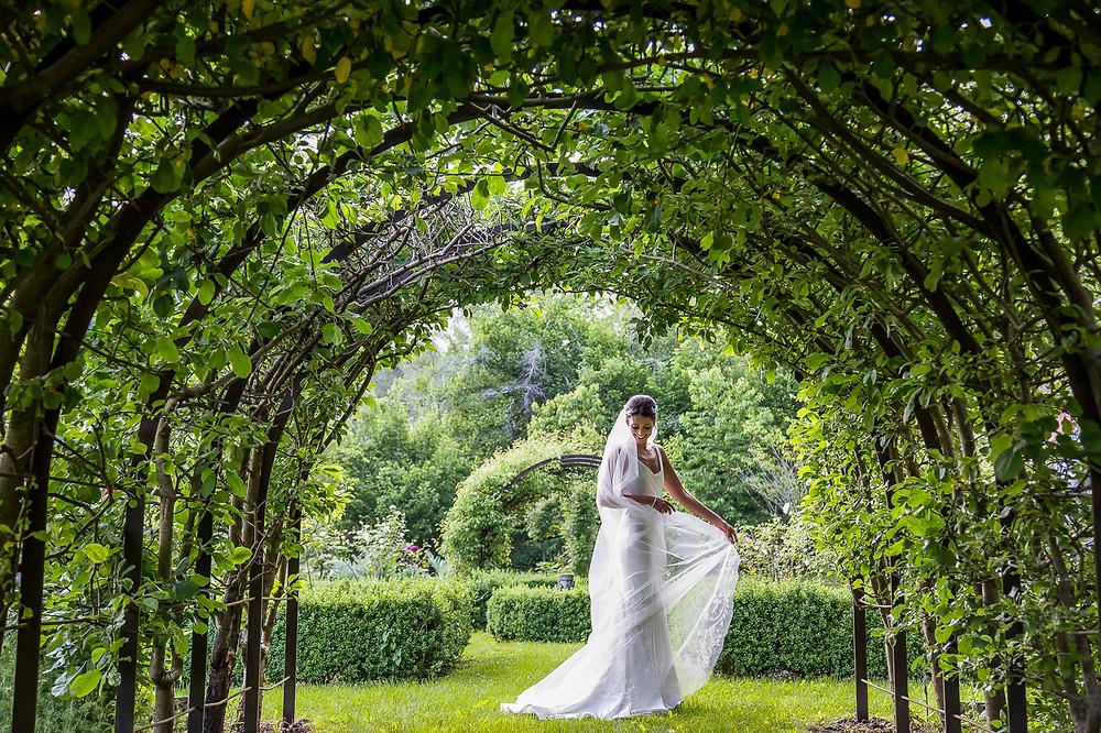 bride in her wedding dress at forge du roy