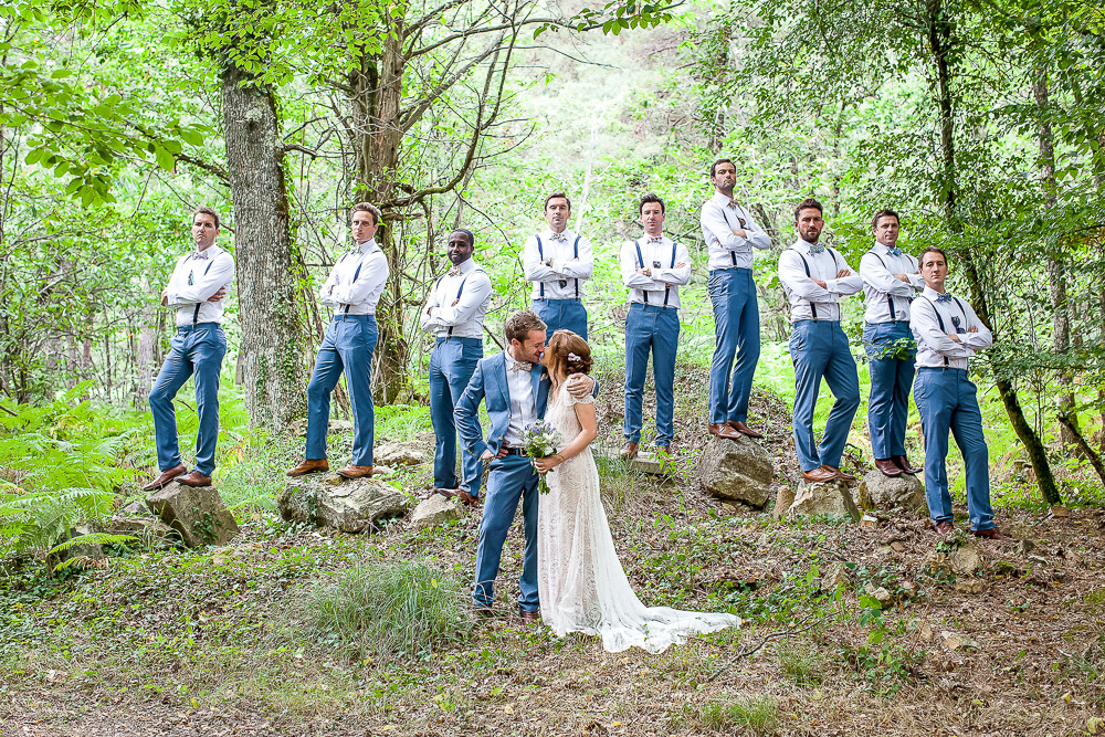 Bride and groom in a forest in south west france