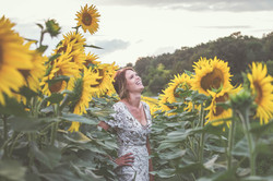 bride in the sunflowers at a wedding in france