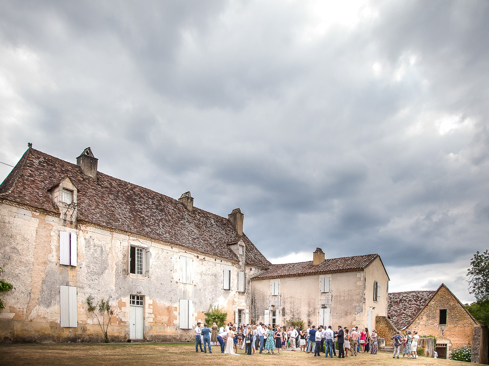 Wedding guests served drinks at their chateau in south west france