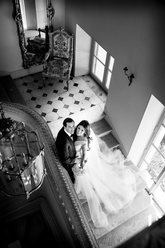 Bride and groom at their wedding at chateau la durantie