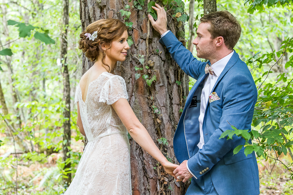 bride and groom in love in rural france